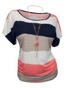 Color Block Striped Charming Plus Size T Shirts/Affiliate