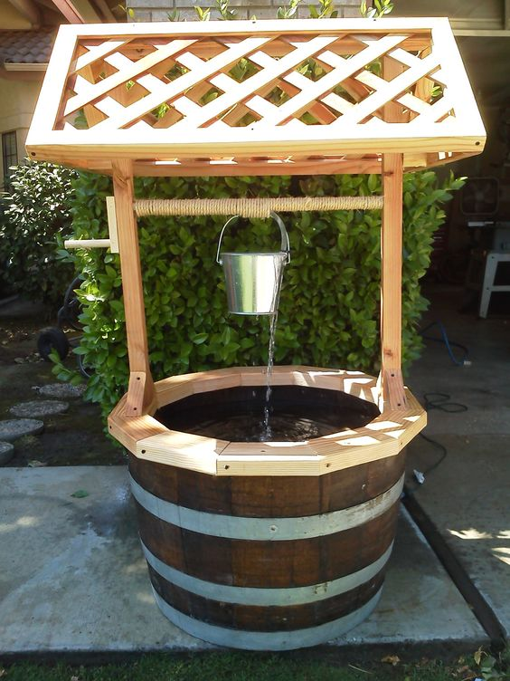 garden wishing well with water feature via etsy. Black Bedroom Furniture Sets. Home Design Ideas