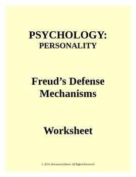 psychology freud 39 s defense mechanisms worksheet student centered resources worksheets and. Black Bedroom Furniture Sets. Home Design Ideas