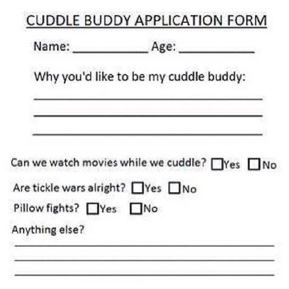 Cuddle Buddy Application  Humor Rated R    Cuddling