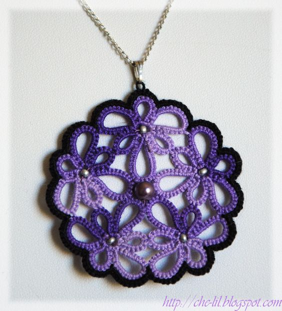 tatted (crochet tatted?) pendant with beads ... no tutorial
