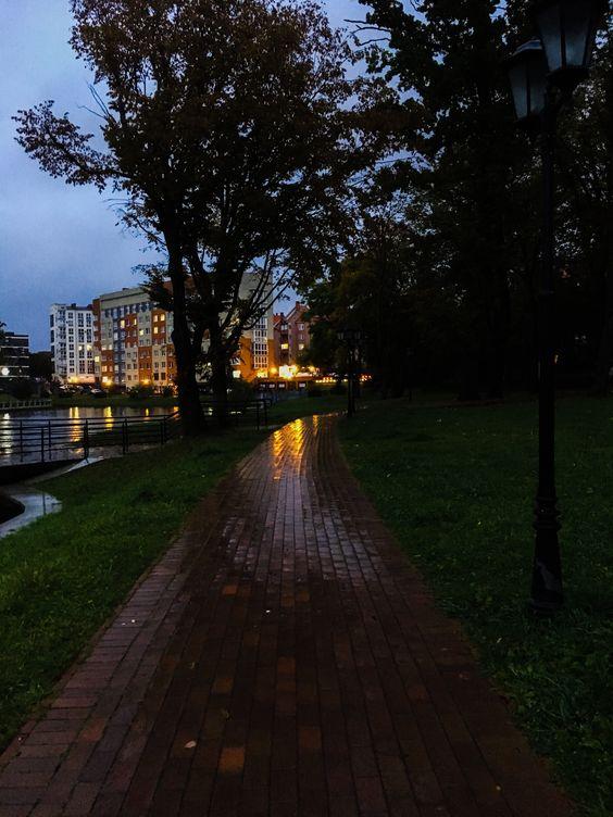 Мокрая дорожка Верхнего пруда с отражением вечерних огней города. Фото Жени Шведы
