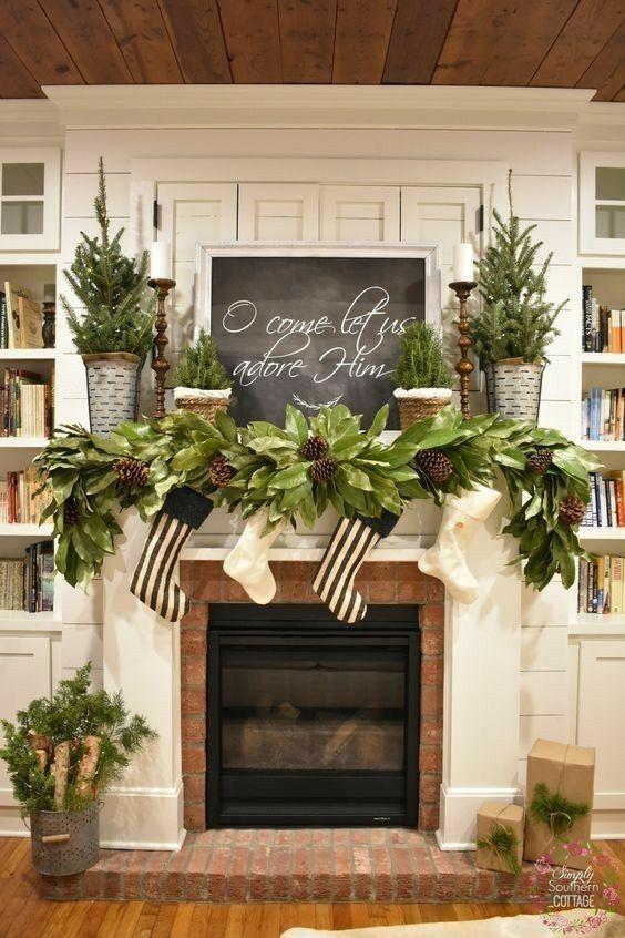 Easy Diy Christmas Mantel Decor Ideas For Your Fireplace Diy Christmas Mantel Christmas Mantel Decorations Christmas Mantle Decor