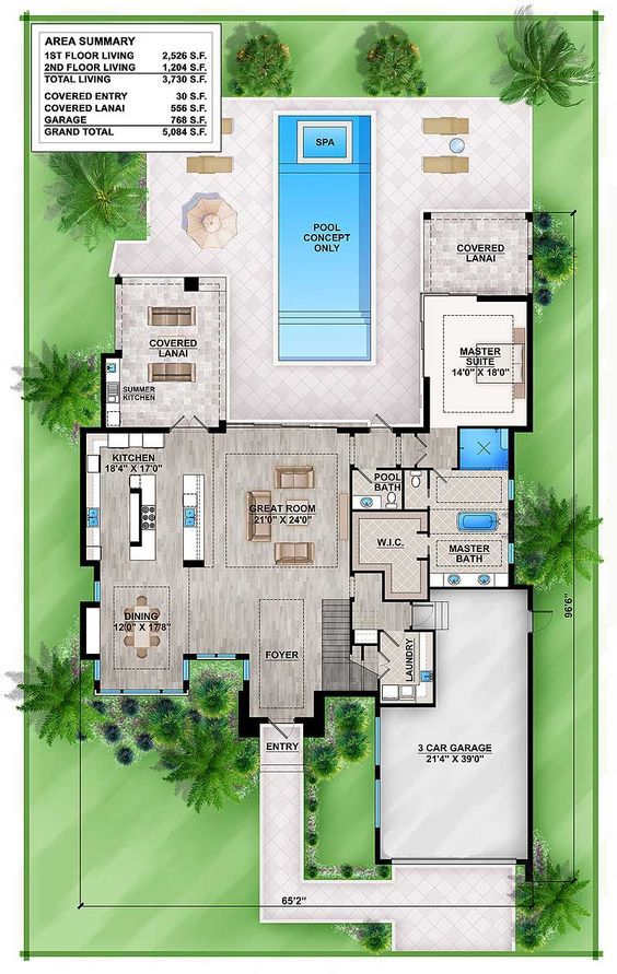 Plan 86039bw master down modern house plan with outdoor for Outdoor floor plan