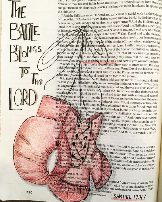 THE BATTLE BELONGS TO THE LORD!! 1 Samuel 17:47 #Godswords #biblejournaling #prismacolor #prismacolorpencils #bible #Godslove by bayberrylaneart