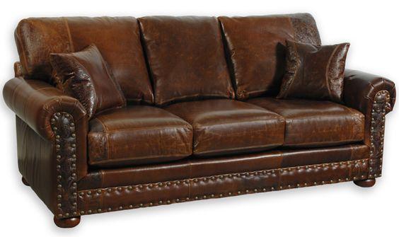 Rustic Outlaw Sofa Distressed Genuine Top Grain