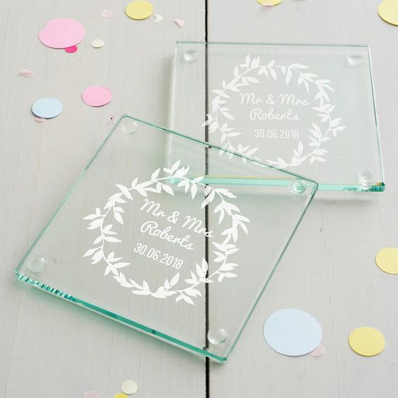 The couple's name on Glass Coasters!
