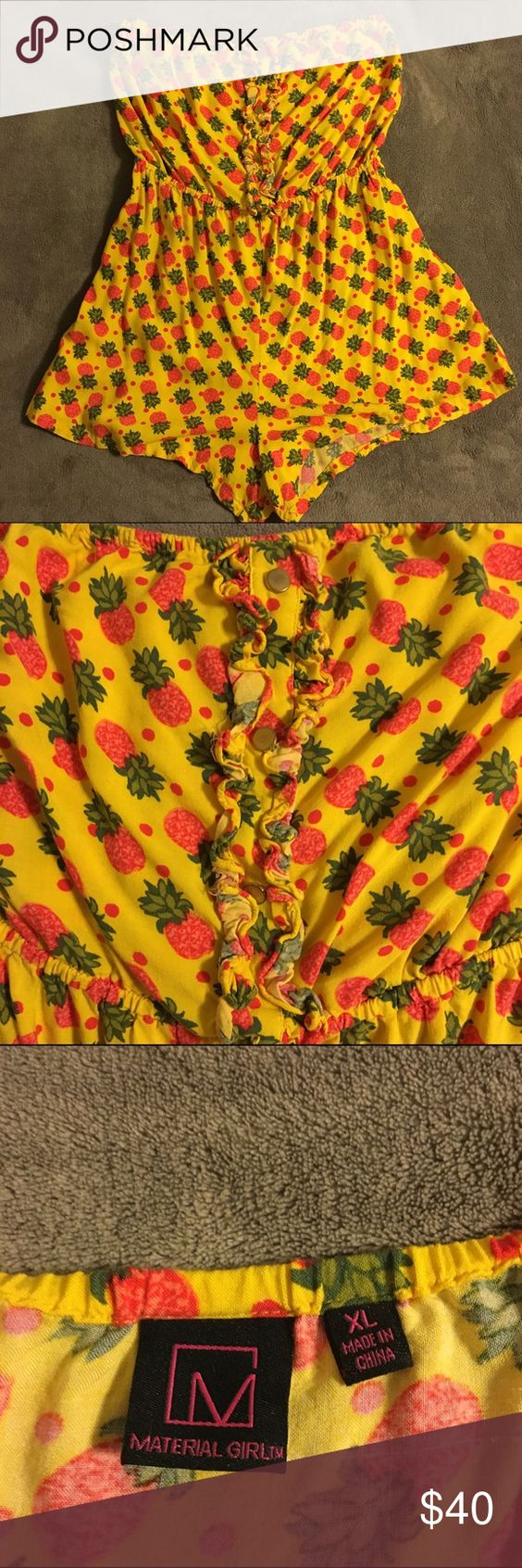 Material Girl Strapless Pineapple Romper Super cute pineapple romper from Material Girl. Elastic waistband. Ruffled detail with gold accent buttons. Soft and comfy! Worn once. Open to reasonable offers. Material Girl Pants Jumpsuits & Rompers