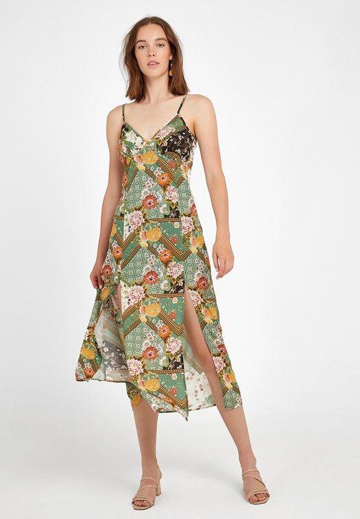 Cok Renkli Yirtmac Detayli Desenli Uzun Elbise Online Alisveris 19kox Visyirtdes Oxxo Uzun Elbise The Dress Elbise