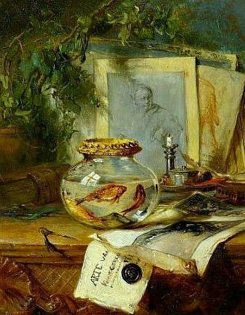Maria Vos Still Life with Goldfish Bowl 19th century