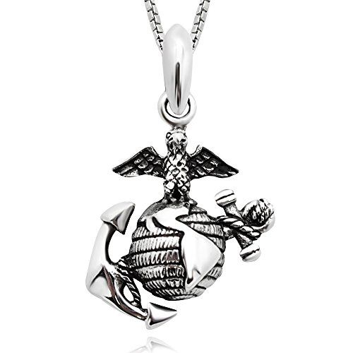 925 sterling silver 3d eagle globe anchor usmc marine corps 925 sterling silver 3d eagle globe anchor usmc marine corps pendant necklace 18 aloadofball Images