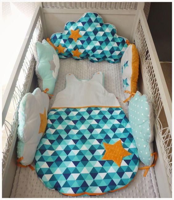 Ensemble Tour de lit bébé + gigoteuse géométrique aqua gris et orange