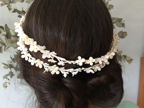 Bridal crown natalicoes flores porcelana fría