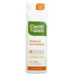 Cleanwell Orange Vanilla Natural Sanitizer 1oz Spray Natural