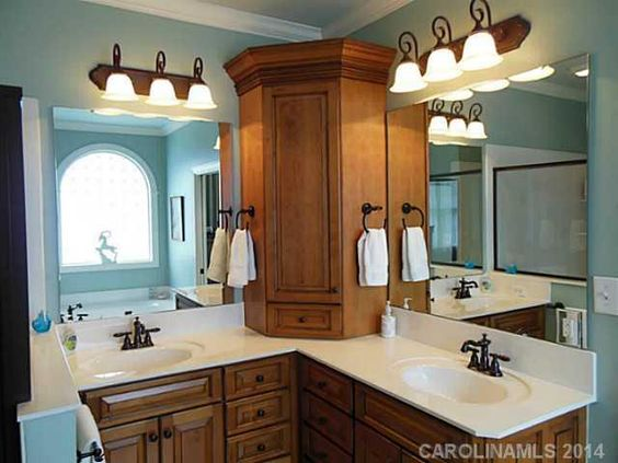 Cabinet on l shaped vanity bathrooms pinterest for L shaped master bathroom layout