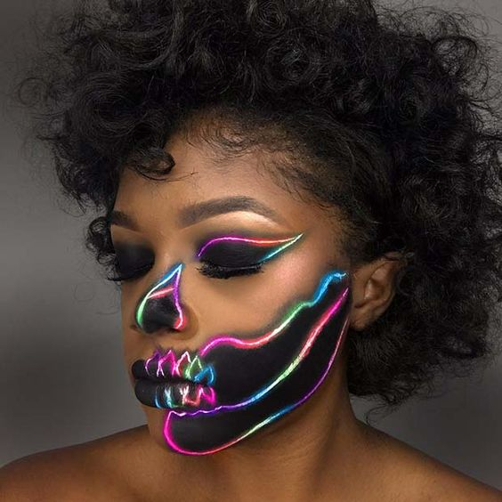 Black and Neon Skeleton Halloween Makeup Idea