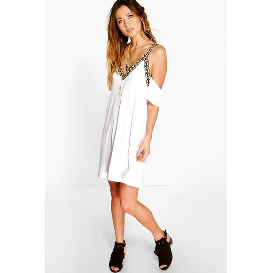 Boohoo Lianne Cold Shoulder Aztec Detail Strappy Dress ($30) ❤ liked on Polyvore featuring dresses, white, white cami dress, white cami, white evening dresses, holiday dresses and white bodycon dress