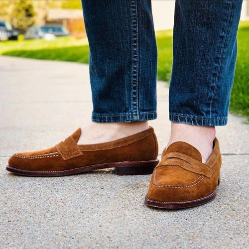 Brown Suede Penny Loafers   Suede shoes