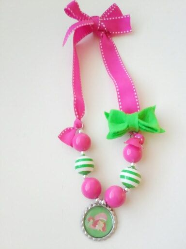 Strawberry shortcake chunky bubblegum ribbon necklace with for Strawberry shortcake necklace jewelry