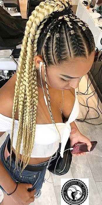 Blonde Braided Ponytail Weave Hairstyles Braided Hair Styles Braided Hairstyles