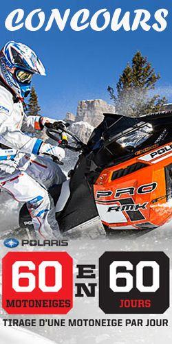 60 motoneiges Polaris à gagner. Fin le 3 mars.  http://rienquedugratuit.ca/concours/60-motoneiges-polaris-a-gagner/