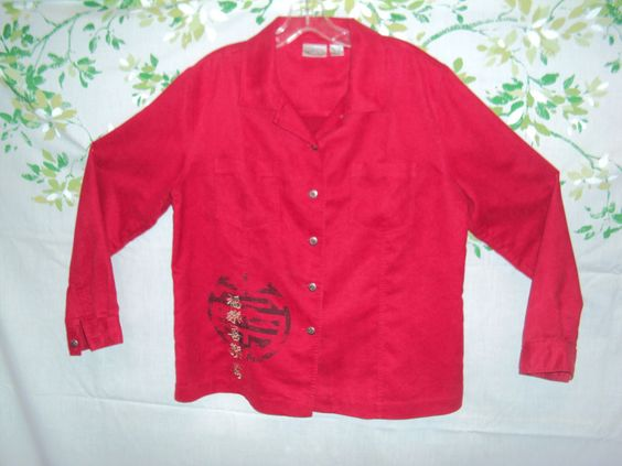 CHICOS sz 2 Red Moleskin Faux Suede Asian Girls Jacket AppliquesTop Blouse Shirt #Chicos #ButtonDownShirt