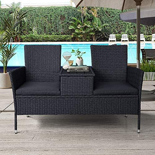 Hommoo Rattan Patio Furniture Outdoor Wicker Conversation Set 2 Person Chat Set Modern Sofas Chair Wi Rattan Patio Furniture Outdoor Loveseat Modern Sofa Chair