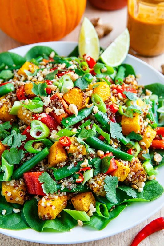 Roasted Pumpkin and Green Bean Quinoa Salad in Thai Peanut Dressing - (would sub almonds for peanuts)