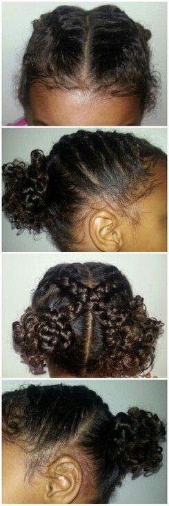 Saw this style here on Pinterest & had to give it a shot. Too cute!! Biracial mixed black kids girls children hair styles curly braids