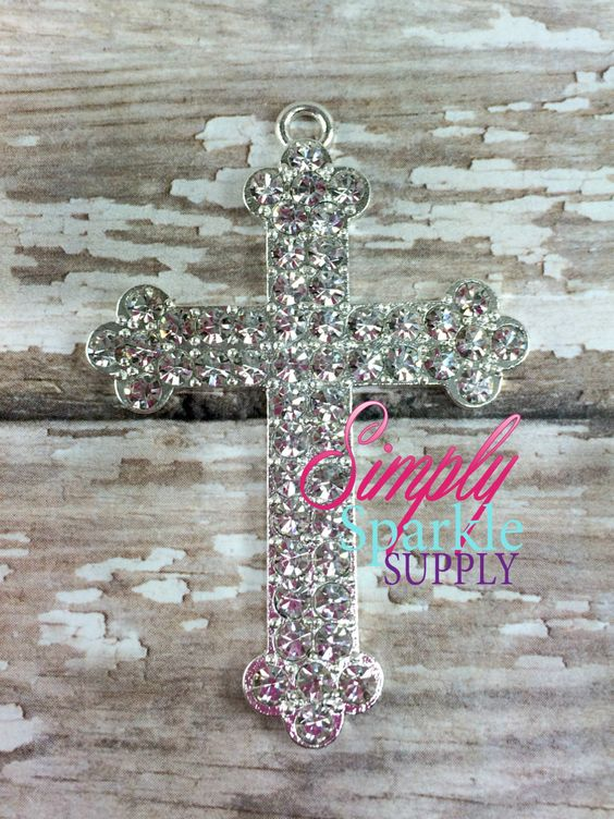 Cross Rhinestone Chunky Bead Pendant Bling Bubblegum necklace pendant Christian Pendant