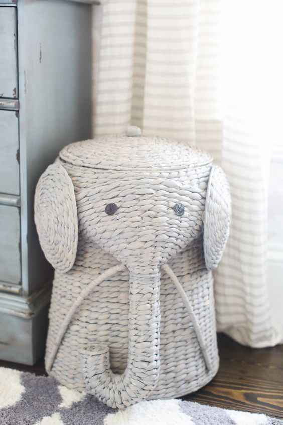 Handwoven Elephant Laundry Hamper In Natural Baby Elephant