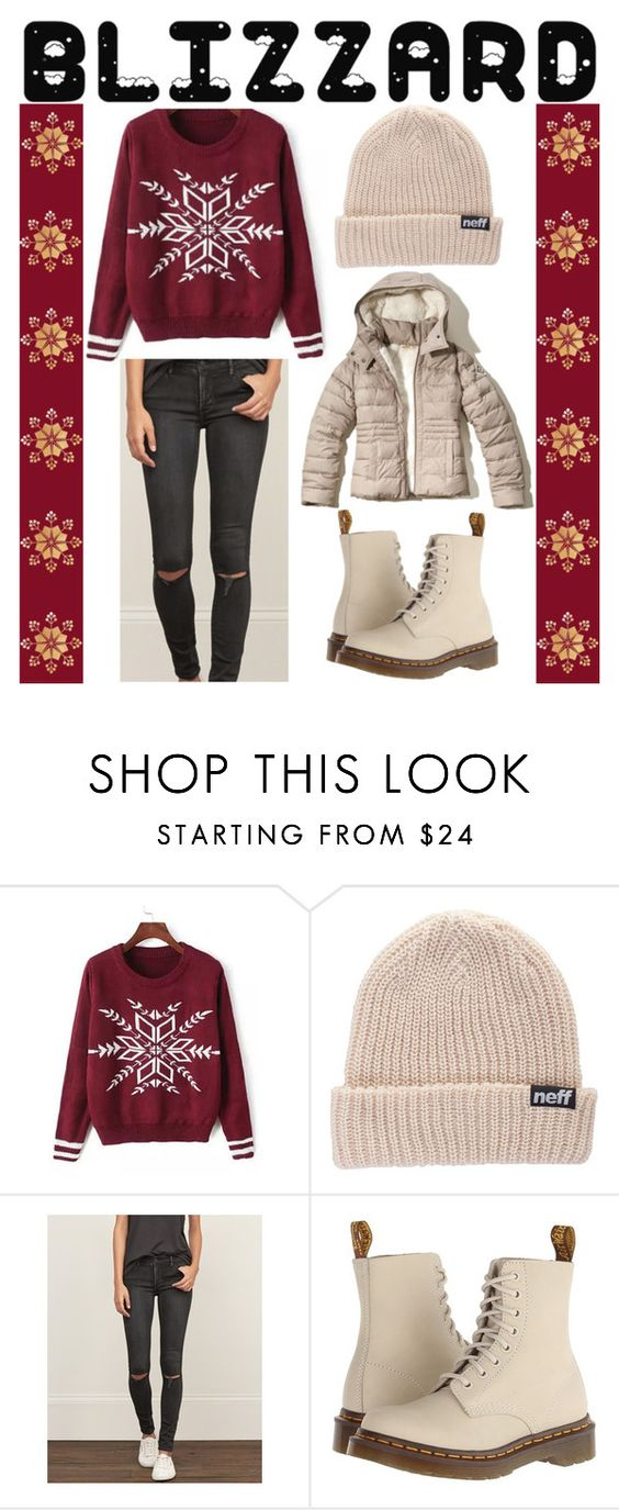 """""""Brrrrr! Winter Blizzard"""" by good-vibes-xo ❤ liked on Polyvore featuring Neff, Abercrombie & Fitch, Dr. Martens and Hollister Co."""