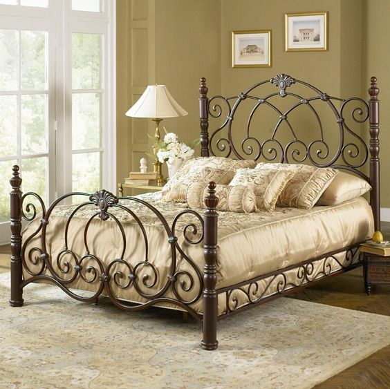 Strathmore Iron Bed Vintage Spice Finish Classic Scroll Work Wrought Iron Beds Wrought Iron Bed Frames Iron Bed