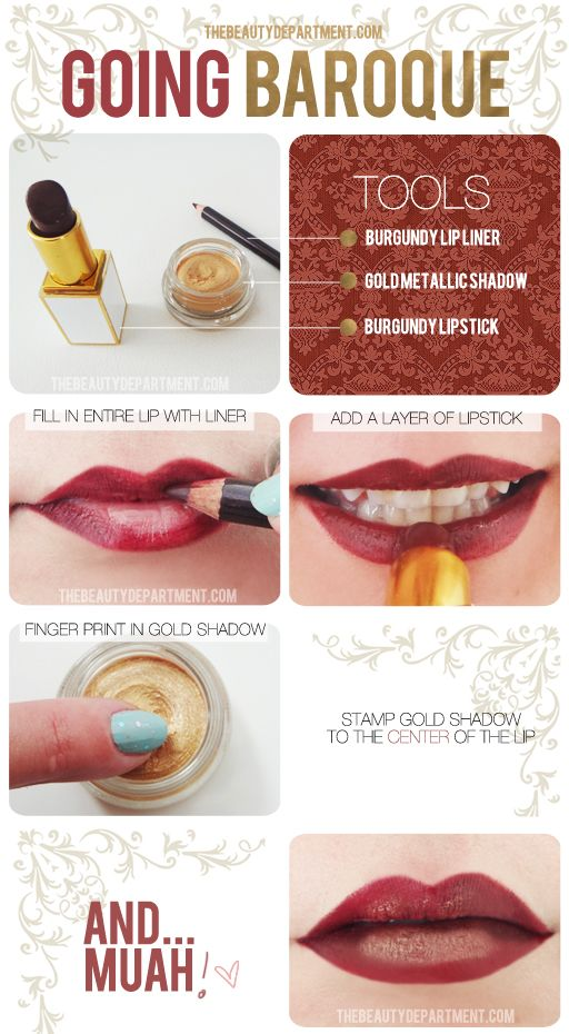 the bold and the beautiful.: Makeup Tutorial, Going Baroque, Baroque Lips, Beauty Tips, Gold Lips, Makeup Tips