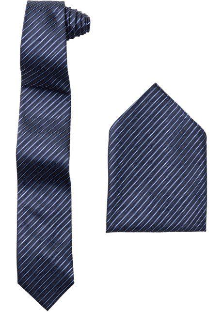 Krawatte + Einstecktuch (2-tlg.), bpc selection, dunkelblau gestreift