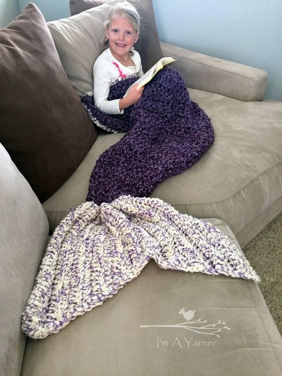 Esta manta de cola de sirena grande con hilo extra suave, difusa, grueso es un gran regalo para todas las princesas que conoces. Es perfecto para
