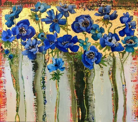 Blue Anemone 1522 In 2020 Flower Art Floral Art Floral Painting