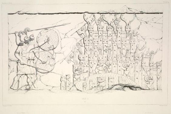 Guerreiros assírios caprurando Ganguhtu, Bit Bagaya, Kiundau, e aaceitando a rendição da cidade de Tikrakka, 716 a.c