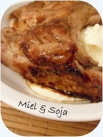 Côté de porc miel-soja