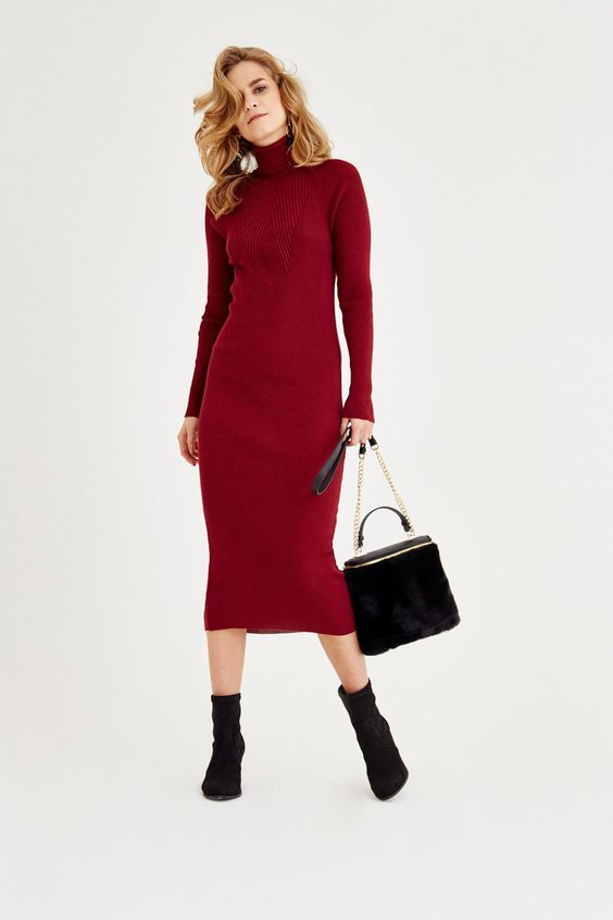 2021 Uzun Triko Kazak Elbise Kombinleri Kirmizi Midi Bogazli Elbise Siyah Deri Bot Elbise Kiyafet The Dress