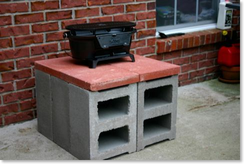 dutch oven table diy | cinder blocks and patio stones
