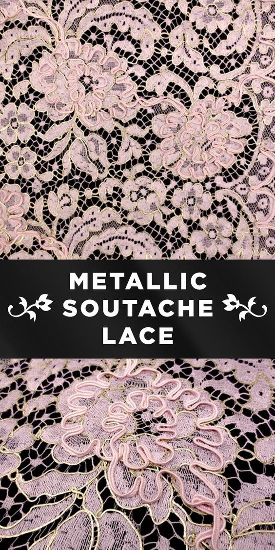 Pastel Pink and Gold Metallic Soutaché Lace