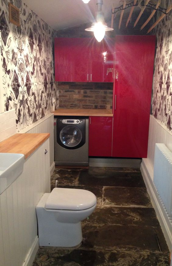Downstairs toilet and utility room with flagstone flooring for Toilet room ideas