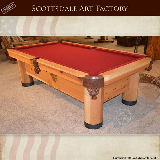 Handmade Custom Pool Table - Game Room Furniture Billiards - regulation size pool table with Italian slate and tournament felt - custom hand carved solid wood base and legs