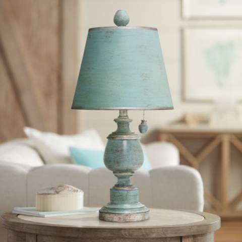 Palmer Antique Coastal Blue Painted Urn Table Lamp 9p805 Lamps Plus Blue Table Lamp Table Lamp Coastal Living Room