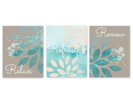 Bathroom Wall Decor, Teal Bathroom Decor, Turquoise Bathroom Art