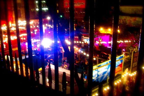 Edinburgh festival lights at night
