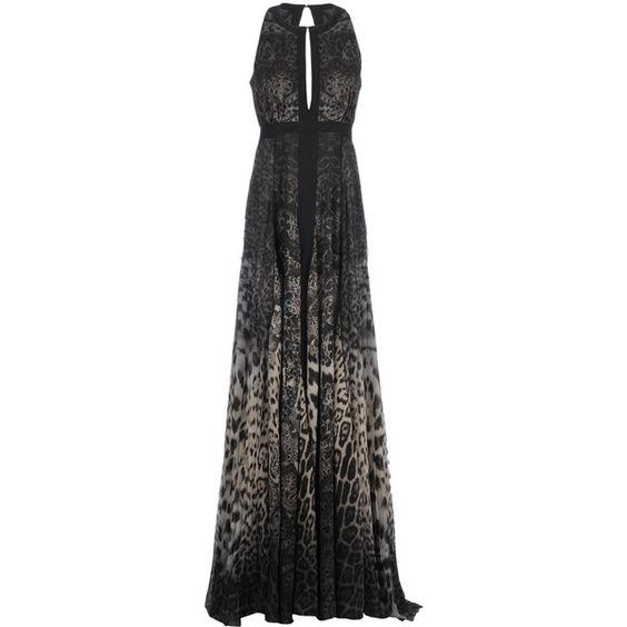 Roberto Cavalli Long Dress (€2.400) ❤ liked on Polyvore featuring dresses, dark green, dark green long dress, sleeveless dress, long dresses, pleated dress and long sleeveless dress