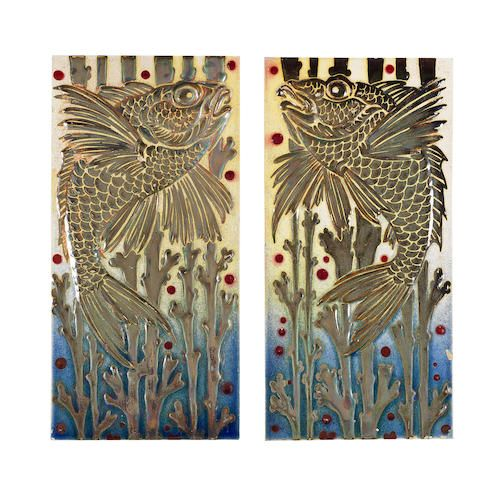 Pilkington Royal Lancastrian A Pair Of Large Lustre Tiles Circa 1910 Decorated With A Mirror Image Design Designed To Be Used In Tile Art Pottery Art Tiles