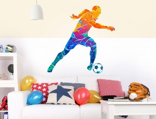 Wandtattoo Fußballer in bunten Farben Wandsticker Sport Deko